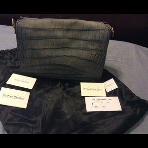 Yves St. Laurent Crocodile Embossed Leather Bag